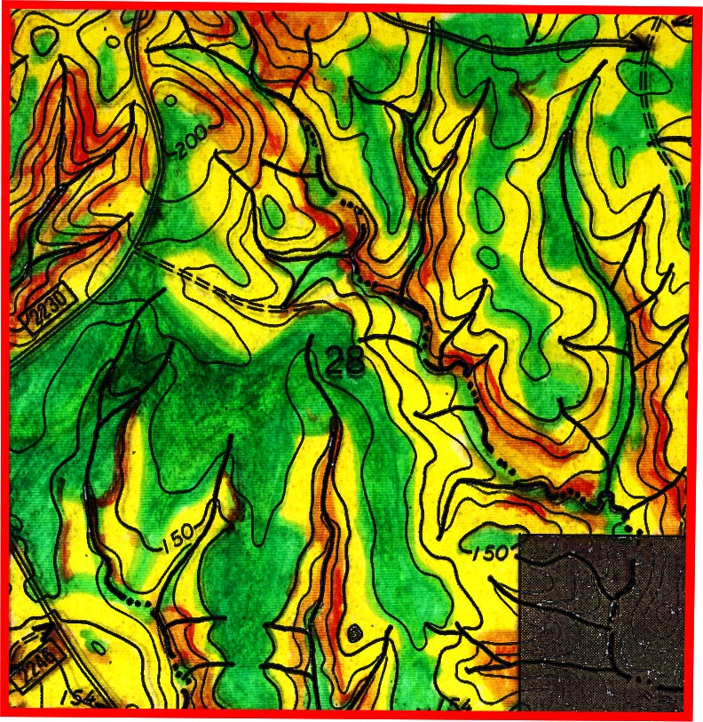 Green is relatively flat, Yellow is moderately steep, and Red is very steep.